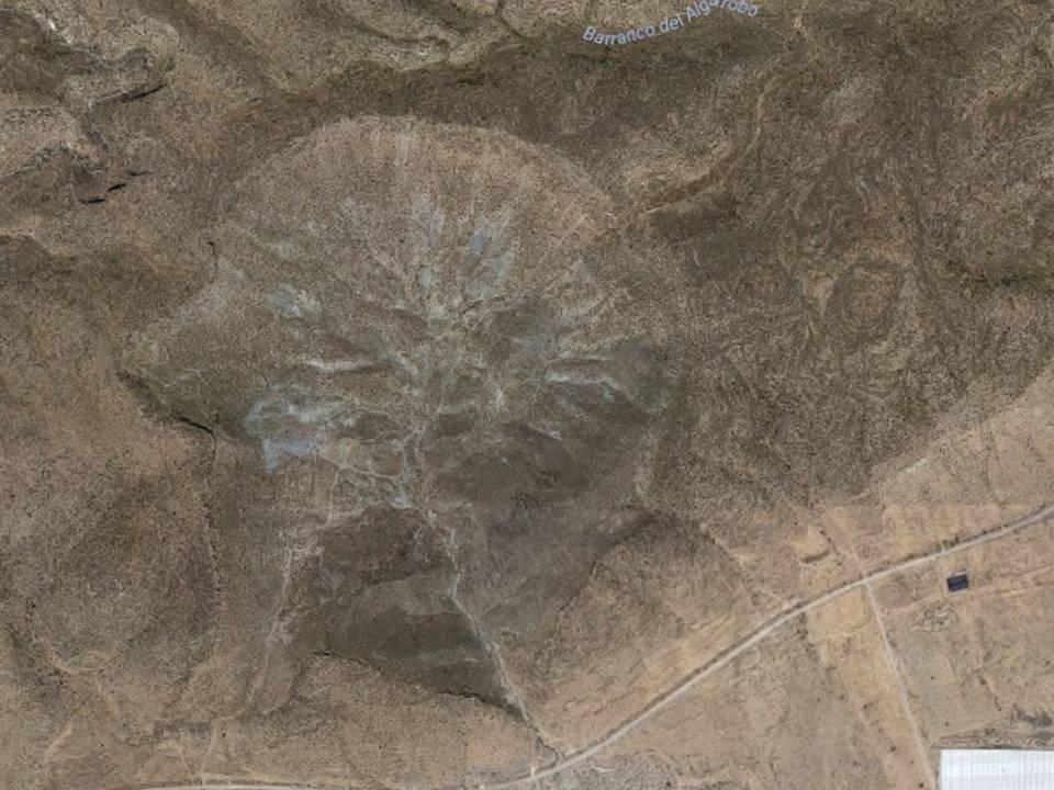 Vista Aérea del Hoyazo de Níjar. Fuente Google Maps